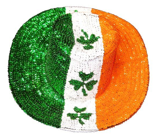 Image 0 of Sequin Cowboy Hat Irish Flag w/Shamrock