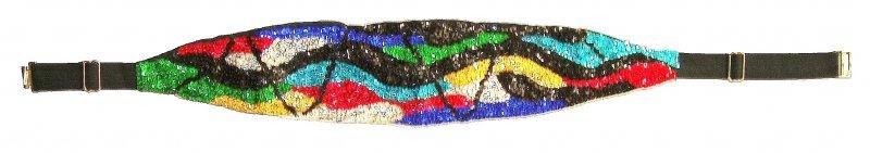 Image 0 of Sequin Cummerbund Belt Rainbow Zig-Zag