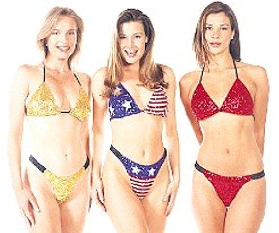 Image 1 of Sequin Triangle Bikini Set Gold