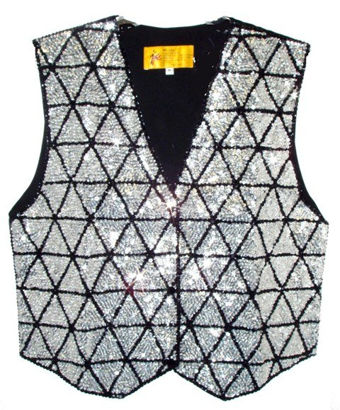 Image 0 of Sequin Vest Silver Triangles