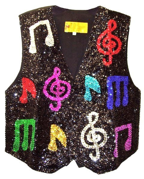 Image 0 of Sequin Vest Black w/Color Music Notes