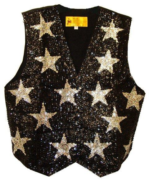 Image 0 of Sequin Vest Black w/Silver Stars