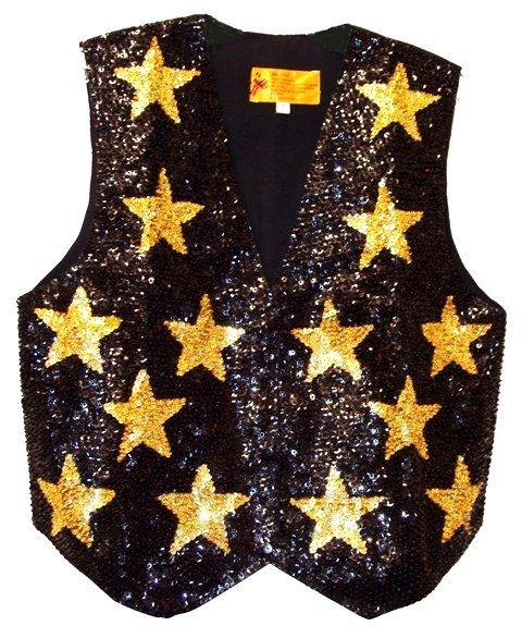 Image 0 of Sequin Vest Black w/Gold Stars