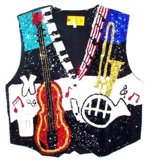 Image 0 of Sequin Vest Jazz Musical Instruments