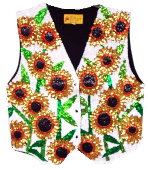 Image 0 of Sequin Vest Sunflower White