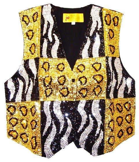 Image 0 of Sequin Vest Tiger/Leopard