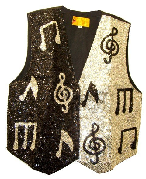 Image 0 of Sequin Vest Two Tone Music Notes