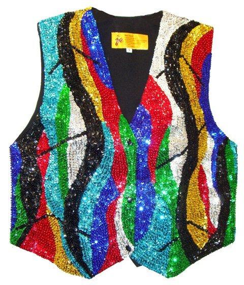 Image 0 of Sequin Vest Rainbow Zig-Zag