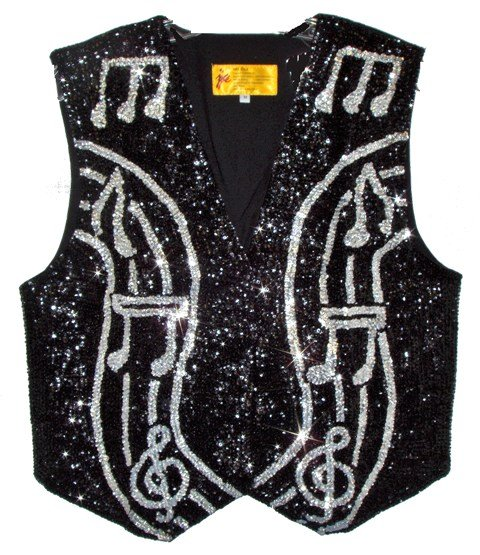 Image 0 of Sequin Vest Black w/Silver Music Notes On Bar