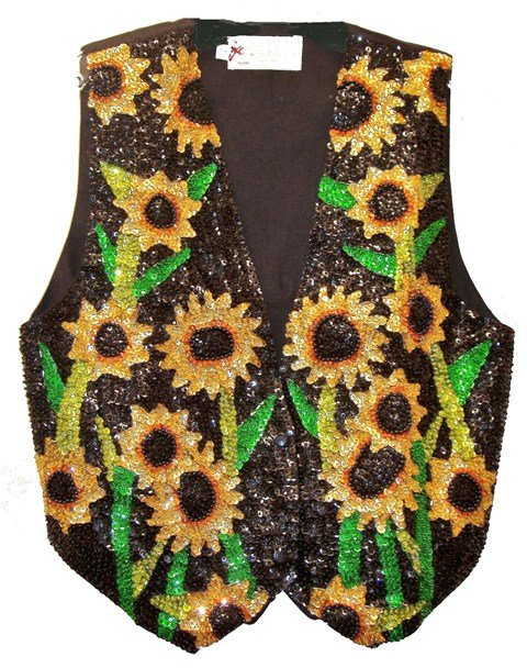 Image 0 of Sequin Vest Black w/Sunflower