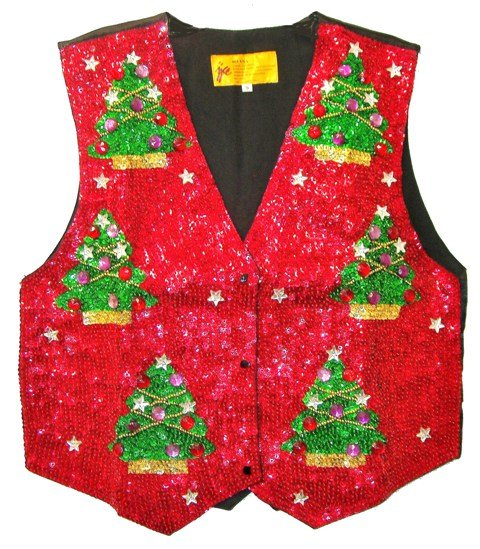 Image 0 of Sequin Vest Red w/Christmas Tree