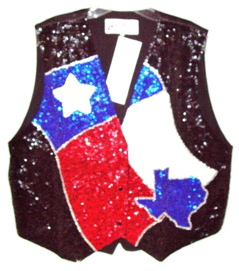 Image 0 of Sequin Vest Texas Flag & Map