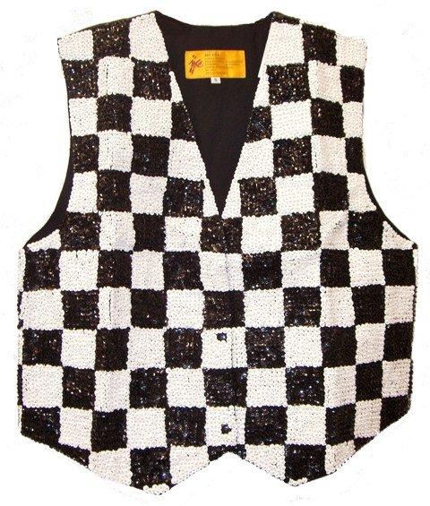 Image 0 of Sequin Vest Black & White Checkered