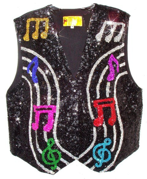 Image 0 of Sequin Vest Black w/Color Music Notes on Bar