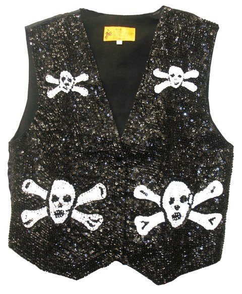 Image 0 of Sequin Vest Black & White Pirate