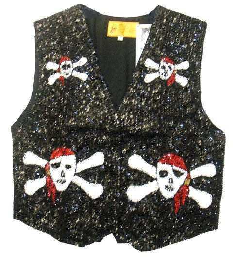 Image 0 of Sequin Vest Black & Red Pirate