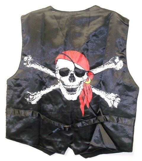 Image 1 of Sequin Vest Black & Red Pirate