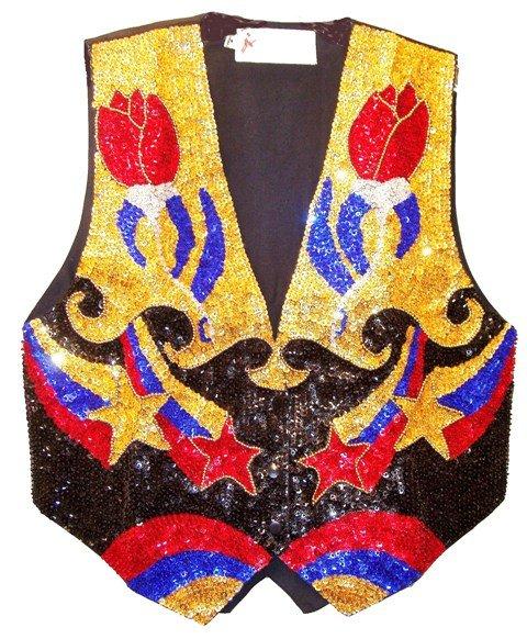 Image 0 of Sequin Vest Rose Bud Black/Gold