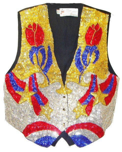 Image 0 of Sequin Vest Rose Bud Blue/Silver