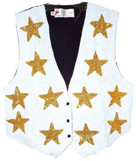 Image 0 of Sequin Vest White w/Gold Stars