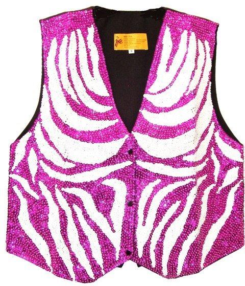 Image 0 of Sequin Vest White & Fushia Zebra