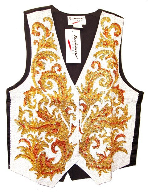 Image 0 of Sequin Vest Arabesque White
