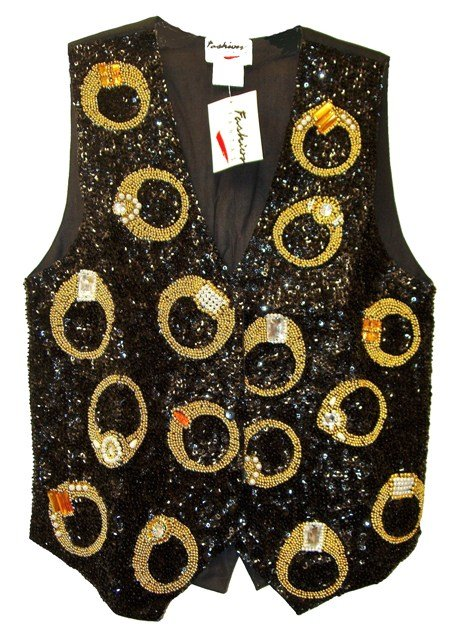Image 0 of Sequin Vest Rings Black