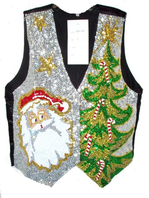 Image 0 of Sequin Vest Santa w/Christmas Tree