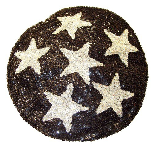 Image 0 of Sequin Beret Black w/Silver Stars