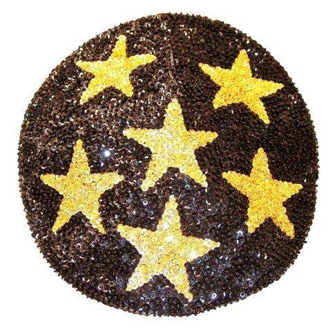 Image 0 of Sequin Beret Black w/Gold Stars
