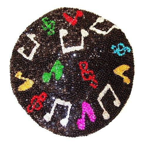 Image 0 of Sequin Beret Black w/Color Music Notes
