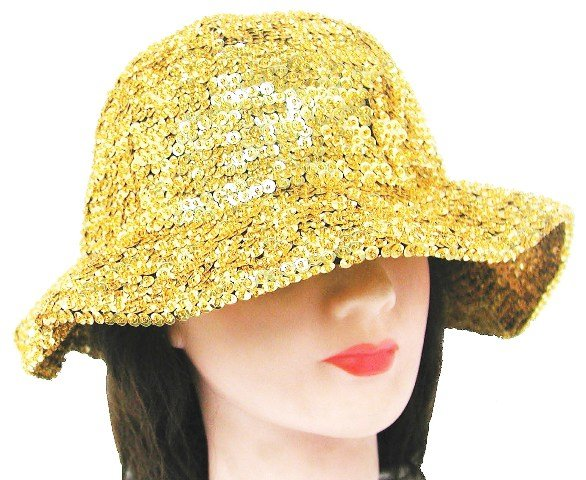 Image 0 of Sequin Flipper Hat Gold