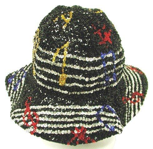 Image 0 of Sequin Flipper Hat Black w/Color Music Notes on Bar