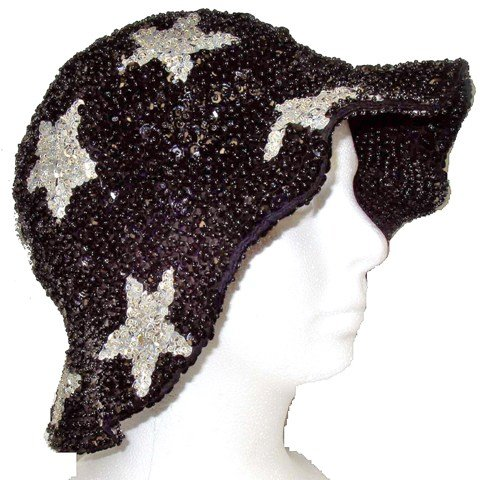Image 0 of Sequin Flipper Hat Black w/Silver Stars