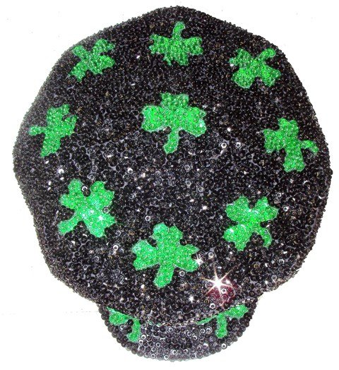 Image 0 of Sequin Brando Cap Black w/Shamrock # 3 (HAT03)
