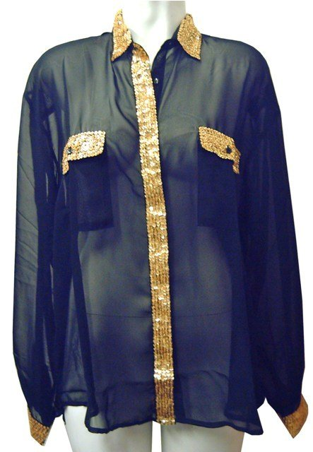 Image 0 of Sequin Chiffon Blouse Black w/Gold