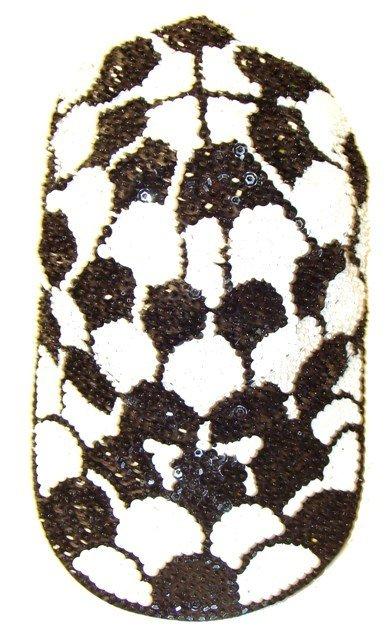 Image 0 of Sequin Baseball Cap Black & White Shell