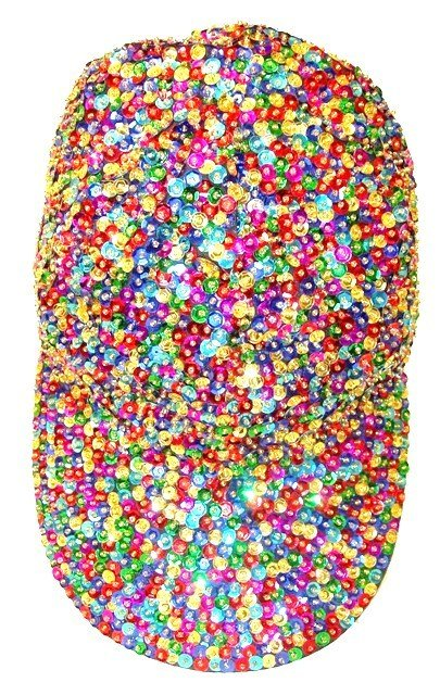 Image 0 of Sequin Baseball Cap Dark Multi