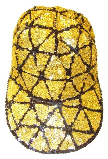 Image 0 of Sequin Baseball Cap Gold Triangle
