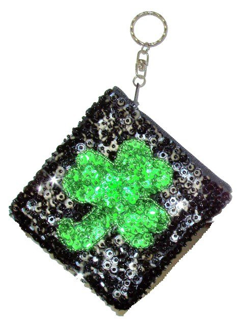 Image 0 of Sequin Keychain Coin Purse Black w/Shamrock