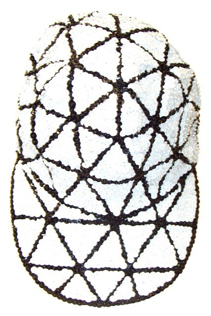 Image 0 of Sequin Baseball Cap White Triangles
