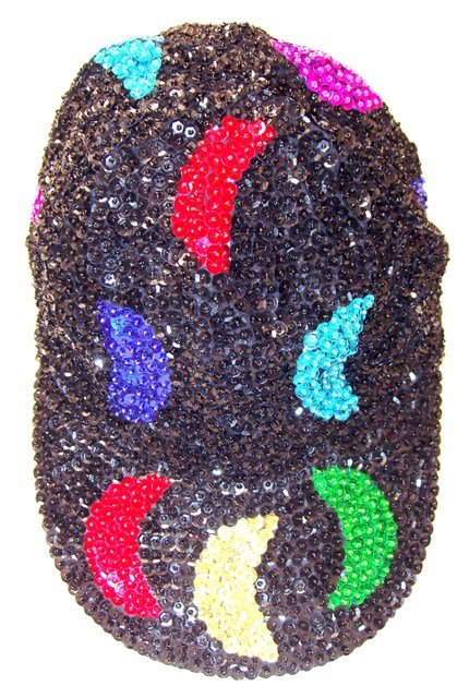 Image 0 of Sequin Baseball Cap Black w/Color Moons