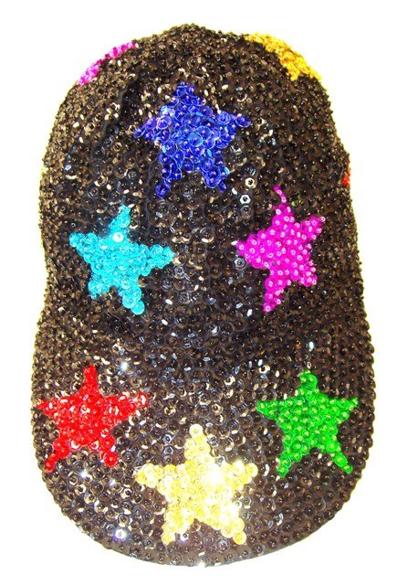 Image 0 of Sequin Baseball Cap Black w/Color Stars (50pcs Box)