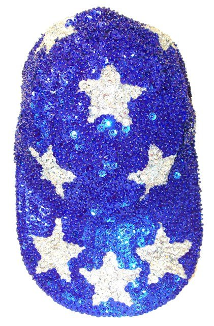 Image 0 of Sequin Baseball Cap Blue w/Silver Stars