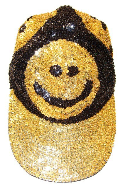 Image 0 of Sequin Baseball Cap Happy Faces