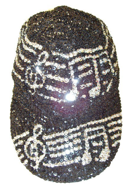 Image 0 of Sequin Baseball Cap Black w/Silver Music Notes on Bar