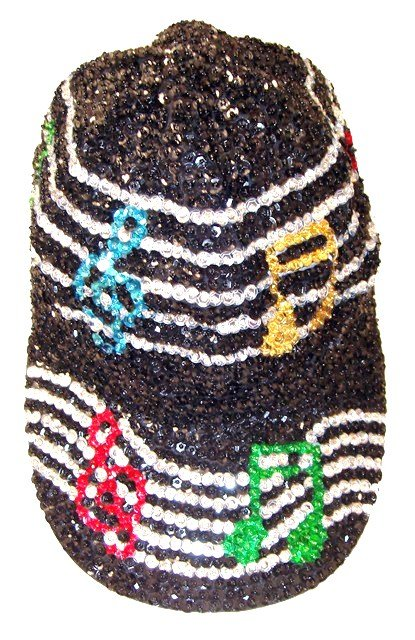 Image 0 of Sequin Baseball Cap Black w/Color Music Notes on Bar