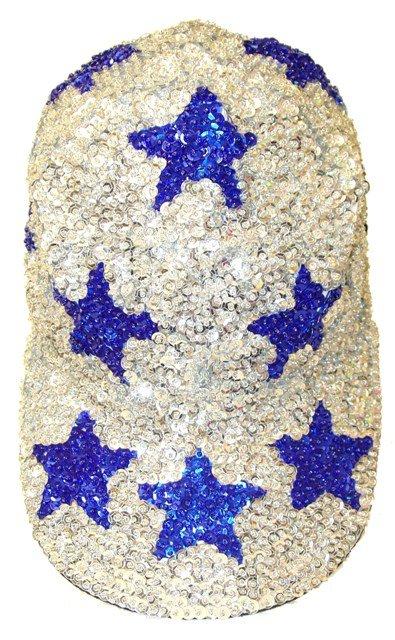 Image 0 of Sequin Baseball Cap Silver w/Blue Stars