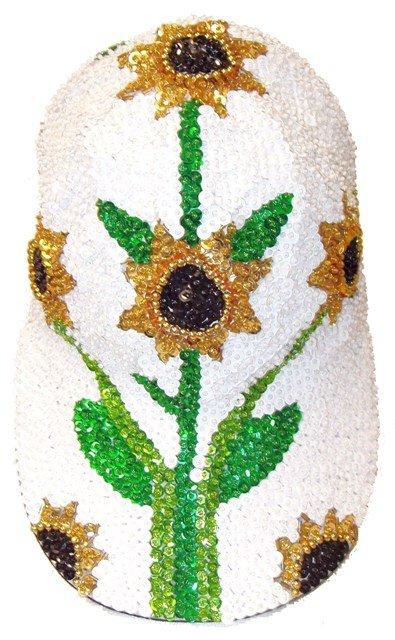 Image 0 of Sequin Baseball Cap Sunflower # 3