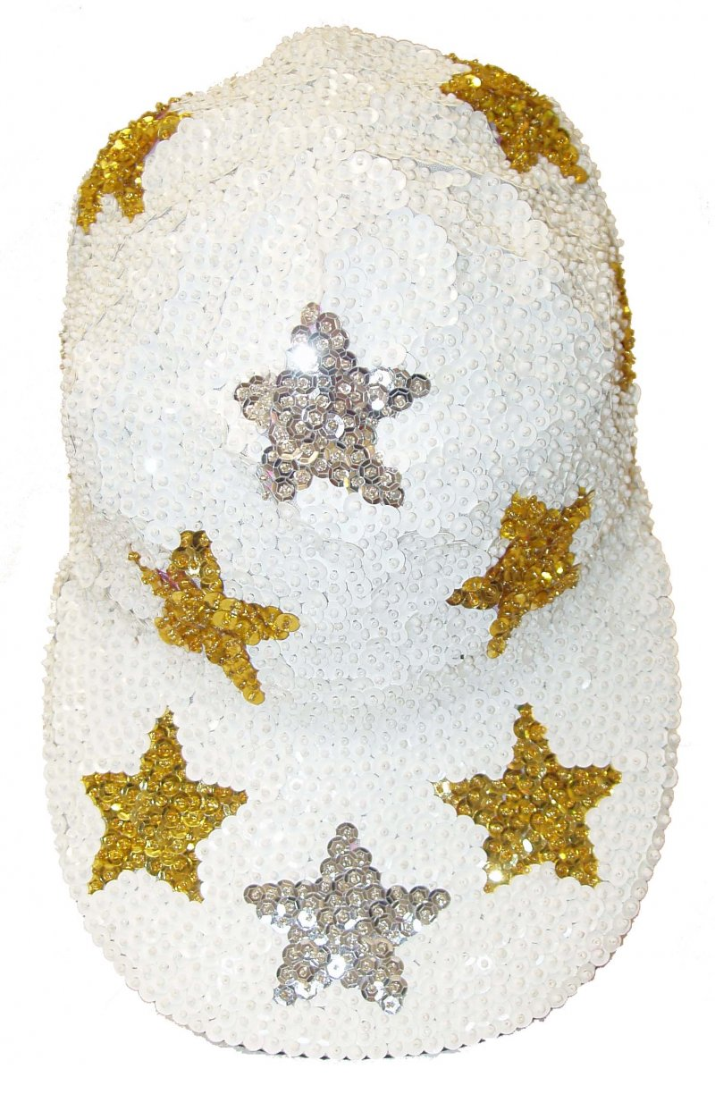 Image 0 of Sequin Baseball Cap White w/Silver & Gold Stars
